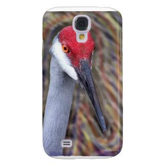 Sandhill Crane Head PIcture with colours around Samsung Galaxy S4 Cases
