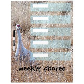 Sandhill Crane Weekly Chores Dry Erase Board