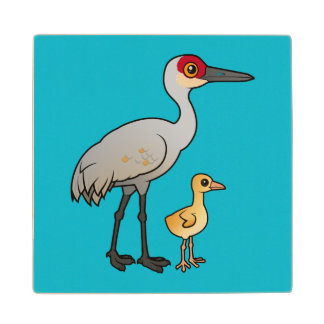 Sandhill Crane with Chick Wood Coaster