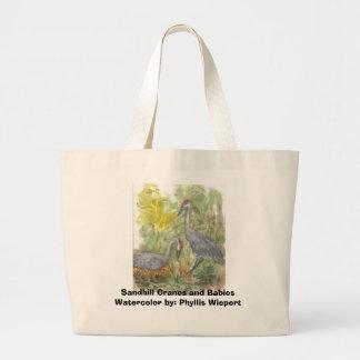 Sandhill Cranes and babies, Watercolor Print Large Tote Bag
