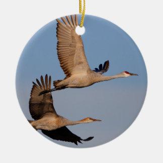 sandhill cranes in flight ceramic ornament