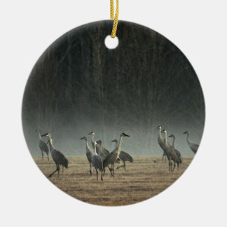 Sandhill Cranes in the Early Morning Spring Mist Ceramic Ornament