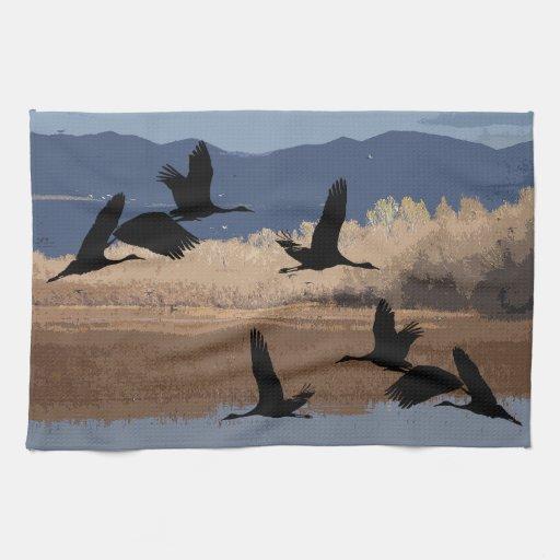 Sandhill Cranes la toalla de cocina