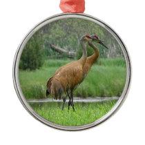 Sandhill Cranes Metal Ornament