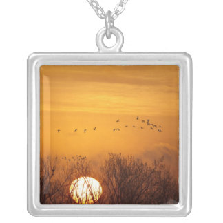 Sandhill cranes silhouetted aginst rising sun silver plated necklace