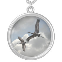 SANDHILL CRANES SILVER PLATED NECKLACE
