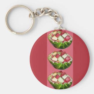 Sandía brillante de la ensalada de fruta llavero redondo tipo pin