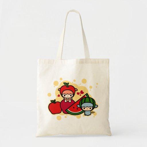 Sandía de la manzana y mascota lindos del kawaii bolsas