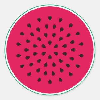 Sandía del arte pop pegatina redonda