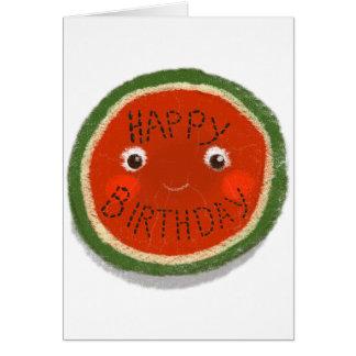 Sandía del feliz cumpleaños tarjeta de felicitación