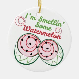 Sandía del olor adorno navideño redondo de cerámica