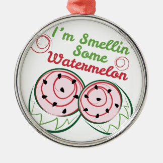 Sandía del olor adorno navideño redondo de metal
