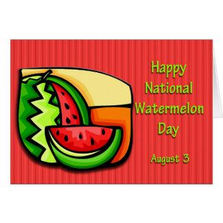 Sandía día 3 de agosto nacional tarjeta de felicitación