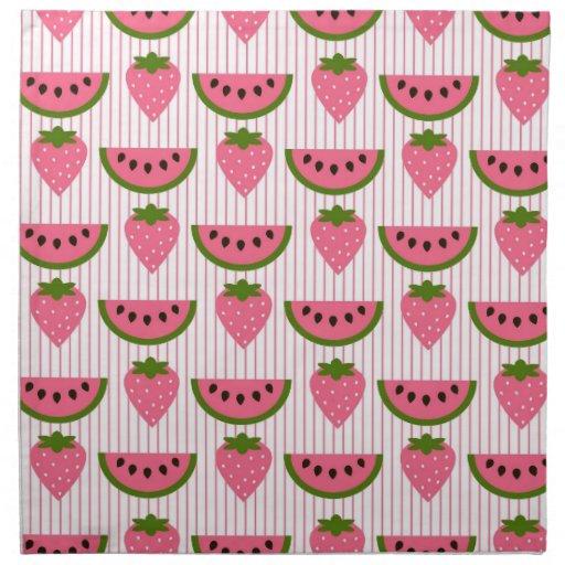 Sandía y fresas servilleta imprimida