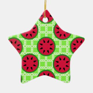 Sandías brillantes de la comida campestre del adorno navideño de cerámica en forma de estrella