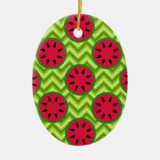 Sandías brillantes de la comida campestre del adorno navideño ovalado de cerámica