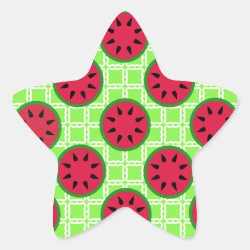 Sandías brillantes de la comida campestre del calcomanías forma de estrella personalizadas