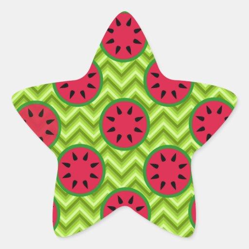 Sandías brillantes de la comida campestre del pegatinas forma de estrella personalizadas