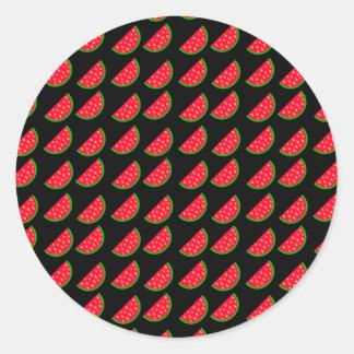 Sandías brillantes de la comida campestre del pegatina redonda