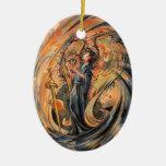 Sandolphon Double-Sided Oval Ceramic Christmas Ornament
