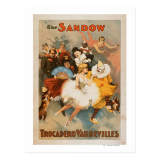 Sandow Trocadero Vaudevilles Carnival Theme Postcard