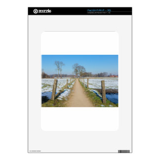 Sandpath between snowy meadows in dutch winter decal for the iPad