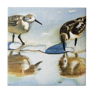 Sandpiper 7, Bird, Ocean, Beach, Nautical, Art Tile