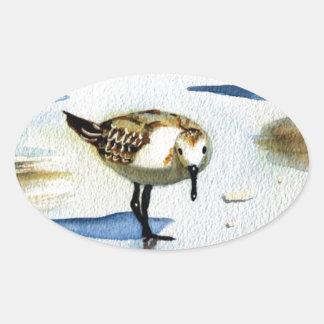 Sandpiper 9, Bird, Ocean, Beach, Nautical, Art Oval Sticker