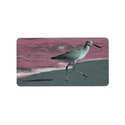 sandpiper abstract red green on beach labels