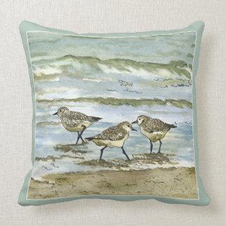 Sandpiper beach birds watercolor in sea blue green throw pillow