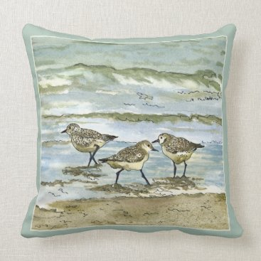 Beach Themed Sandpiper beach birds watercolor in sea blue green throw pillow