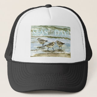 Sandpiper birds beach watercolor trucker hat