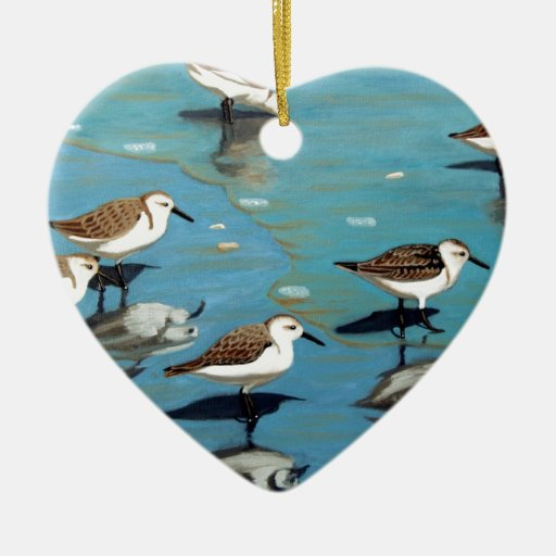 Sandpiper IV Double-Sided Heart Ceramic Christmas Ornament