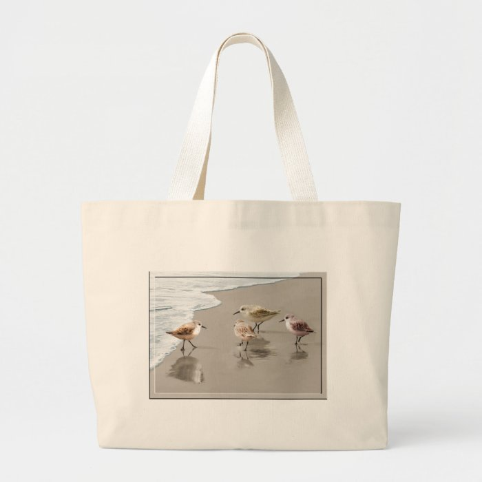 Sandpipers at the Shoreline Large Tote Bag