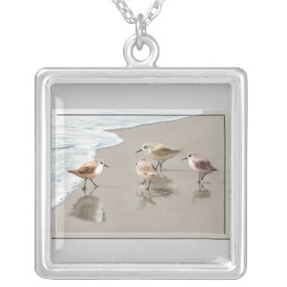 Sandpipers at the Shoreline Silver Plated Necklace