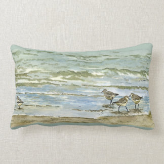 Sandpipers beach bird watercolor in sea blue green lumbar pillow