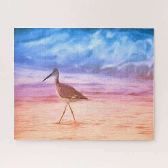 Sandpiper's Morning Walk On Beach During Sunrise Jigsaw Puzzle