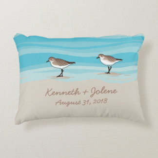 Sandpipers on Beach Wedding Date Names in Sand Accent Pillow