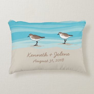 Beach Themed Sandpipers on Beach Wedding Date Names in Sand Accent Pillow