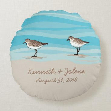Beach Themed Sandpipers on Beach Wedding Date Names in Sand Round Pillow