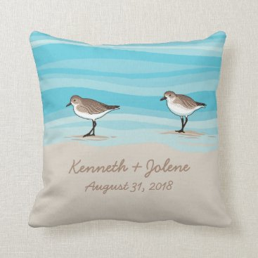 Beach Themed Sandpipers on Beach Wedding Date Names in Sand Throw Pillow