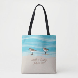 Sandpipers on Beach Wedding Date Names in Sand Tote Bag