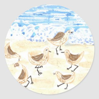 Sandpipers on Old Orchard Beach, Maine Classic Round Sticker