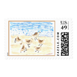 Sandpipers on Old Orchard Beach Postage Stamp
