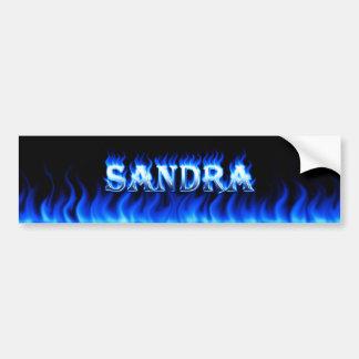 Sandra blue fire and flames bumper sticker design. car bumper sticker