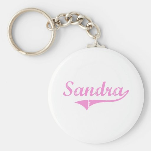 Sandra Classic Style Name Basic Round Button Keychain