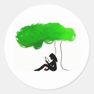 Sandra's painting classic round sticker