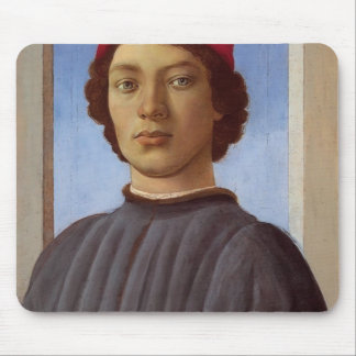 Sandro Botticelli- Portrait of a young man red cap Mouse Pads
