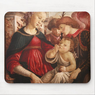 Sandro Botticelli-Virgin and child with two angels Mousepads