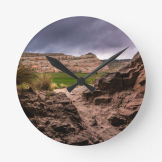 Sandstone Cave In Stormy Weather - Moab - Utah Round Clock